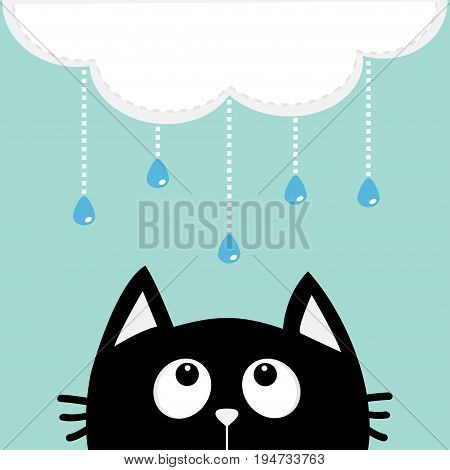Black cat looking up to cloud with hanging shining rain drops. Dash line set. Cute cartoon character. Valentines Day. Kawaii animal. Love Greeting card. Flat design. Blue background Isolated. Vector