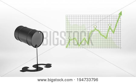 3d rendering of a black barrel leaking oil to make a USD sign hanging beside a chart with a green positive statistic arrow. Growing market. Oil and gas business. Profitable investment.