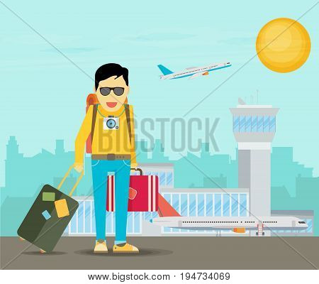 Holiday for businessman man with travel bag