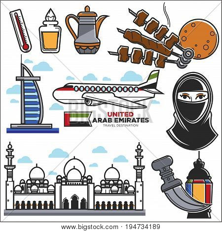 Arab Emirates culture and UAE travel landmarks and sightseeing vector icons. Vector set of Arabian flag, Burj al Arab and Jumeira mosque, muslim paranja or hookah and kebab food, hot tea with airlines
