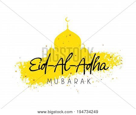 Eid Al Adha Mubarak. Kurban-bairam. Islamic festival of sacrifice. Vector illustration on a white background with a smear of ink yellow and confetti. A great holiday gift card. poster