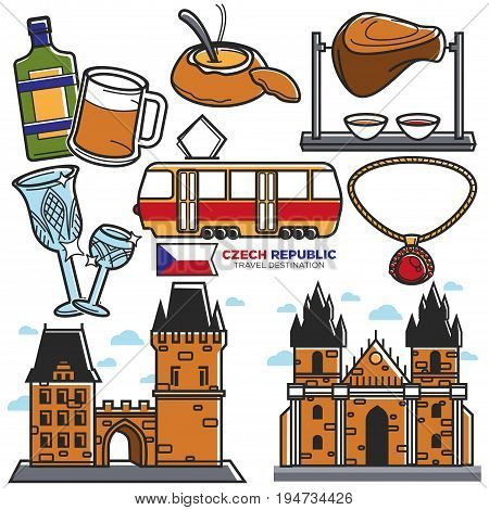 Czech Republic travel sightseeing and culture famous landmarks. Vector icons of Czech flag, Becherovka drink and goulash soup or pork knuckle, Prague castles and King Charles bridge with tram