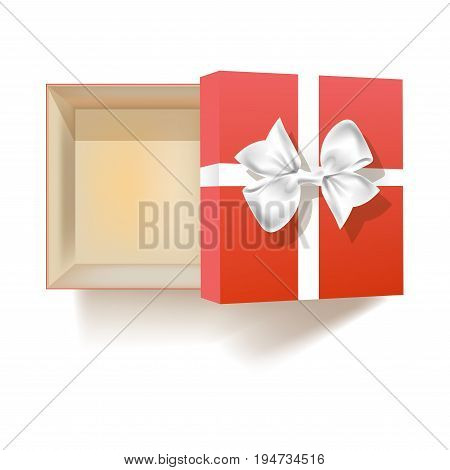 Open empty square red gift box with cover that has neat bow made of silk ribbon isolated realistic vector illustration on white background. Beautiful container for birthday present view from above.