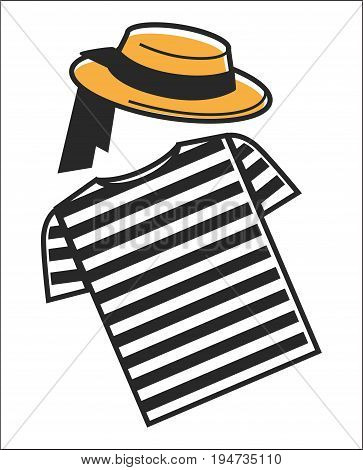 Italy or Venice gondolier shirt and hat symbols for Italian culture and travel. Vector isolated flat icons of striped clothes of traditional Venetian gondola driver