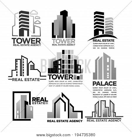 Residential buildings, apartment houses and hotel palaces and business centers. Vector logo templates set for real estate agency or construction company