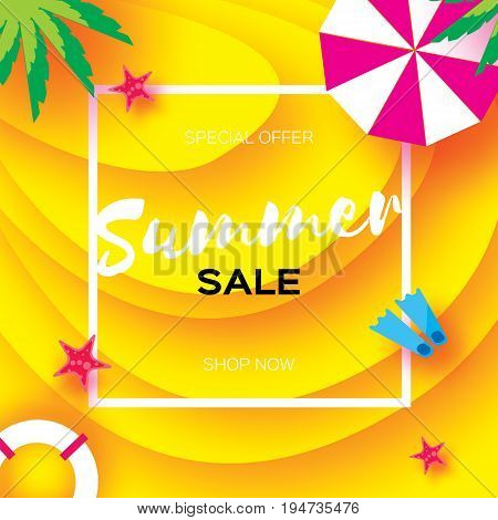 Summer Sale Template banner. Beach rest. Summer vacantion poster. Top view on colorful beach elements. Square frame with space for text. Paper art style. Yellow background. Vector illustration