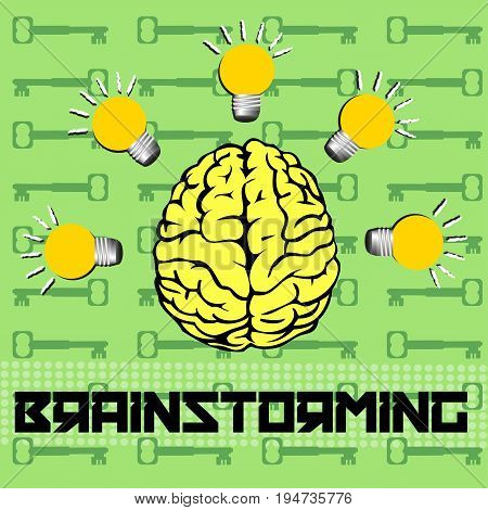 Abstract colorful background with a yellow brain surrounded by light bulbs. Brainstorming concept