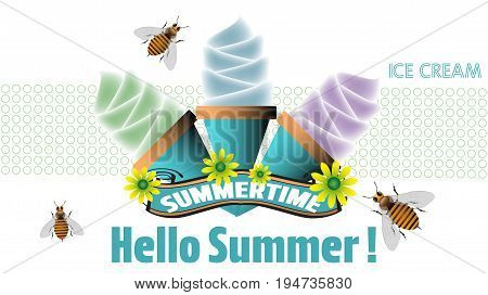 Summertime concept with ice cream, bees and flowers