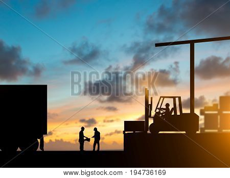 Silhouette inspector are examining the waybill with the Forklift. truck bringing up the goods in warehouses over blurred natural background sunset pastel.Business Logistics and Transportation concept.