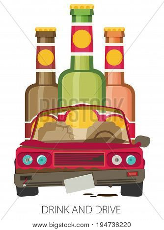 Alcohol influenced driving causes car crash vector