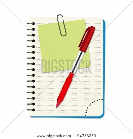 Notebook with green notice paper and red pen on a white background