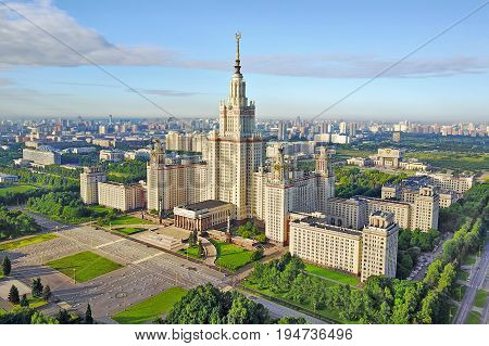 Aerial view of Moscow State University in the summer morning