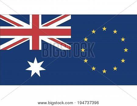 EU Australia Partnership. Symbol for the Free Trade Agreement between Australia and the European Union