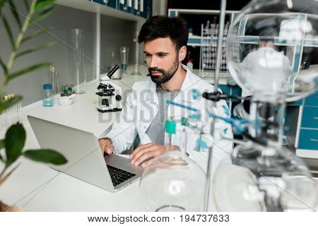 Focused Young Scientist In White Coat Using Laptop In Chemical Lab