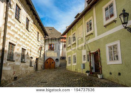 Quiet old street in Czech Krumlov, Czech Republic