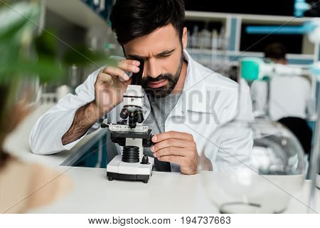 Focused Male Scientist In White Coat Working With Microscope In Chemical Lab