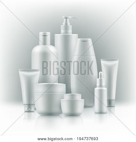 Realistic cosmetic mockup. Packages for cosmetic. Blank templates of containers vial with dropper, bottle for shower gel, lotion, shampoo with pump dispenser, jar, tube for cream. Black and gold