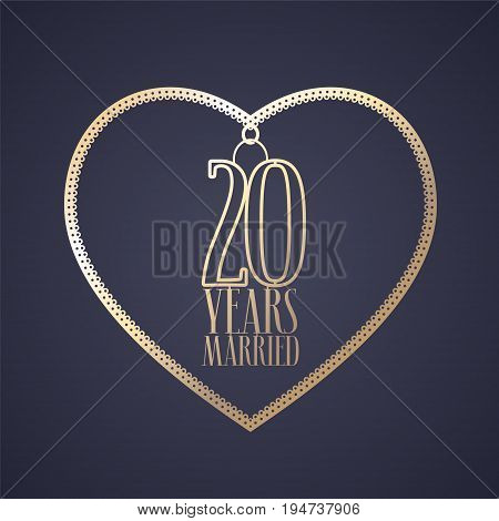 20 years anniversary of being married vector icon logo. Graphic design element with golden color heart for decoration for 20th anniversary wedding
