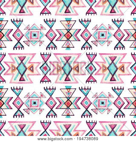 Watercolor ethnic seamless pattern. Geometric ornament with ornate tribal elements on white background. Hand painted illustration in authentic style
