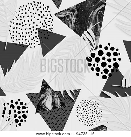 Abstract grunge triangle and exotic paper leaves seamless pattern. Triangles with palm leaf doodle grunge textures. Geometric background with paper cutouts. Summer art illustration