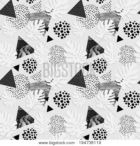 Abstract grunge triangle and exotic paper leaves seamless pattern. Triangles with monstera leaf doodle grunge textures. Geometric background with paper cutouts. Summer art illustration