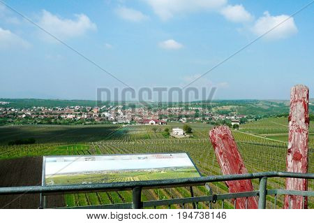 View of a farm winery on spring from the lookout tower on the hill of Slunecna towards the Velke Pavlovice, Czech Republic