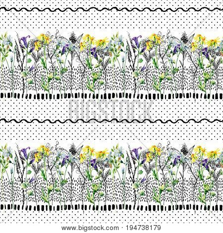 Meadow watercolor and ink flower seamless pattern. Water color and graphic bellflower daisy weed and herb on background with polka dot scrabble strokes. Hand painted illustration in 80s 90s style