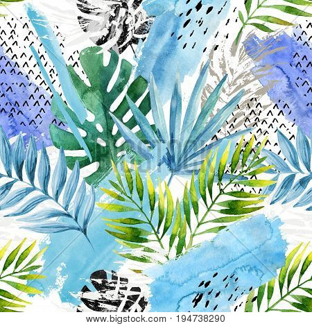 Natural watercolor seamless pattern. Hand drawn abstract tropical summer background: marbled monstera leaves fan palm leaf squiggles brush strokes grunge texture. Modern art illustration