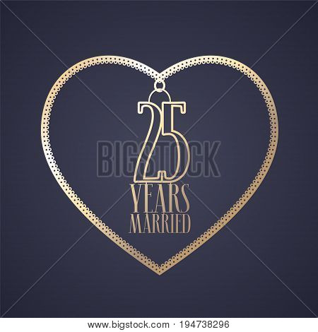 25 years anniversary of being married vector icon logo. Graphic design element with golden color heart for decoration for 25th anniversary wedding