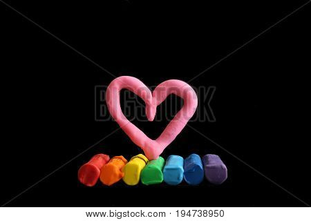 LGBT concept love  black background modelling clay