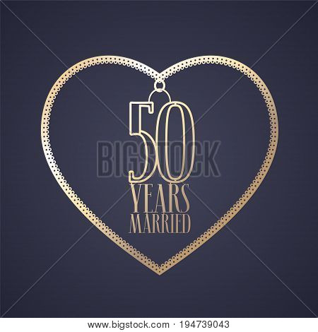 50 years anniversary of being married vector icon logo. Graphic design element with golden color heart for decoration for 50th anniversary wedding