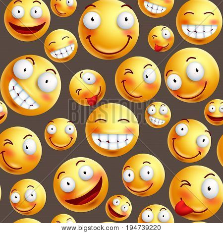 Smiley pattern vector background with continuous or seamless happy facial expressions of yellow smileys in brown background. Vector illustration.