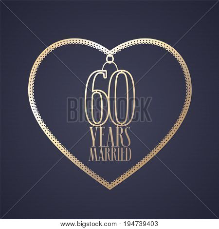 60 years anniversary of being married vector icon logo. Graphic design element with golden color heart for decoration for 60th anniversary wedding