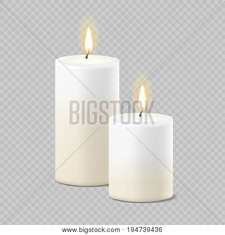 Set of realistic vector white candles with fire on transparent background. Cylindrical aromatic candle sticks with burning flames .