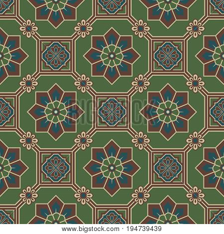 Antique Seamless Background Of Oriental Green Octagon Square Frame Cross Flower