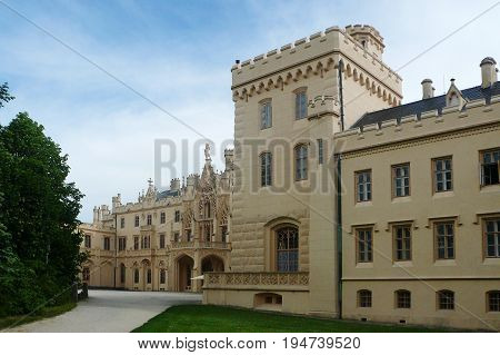 LEDNICE, CZECH REPUBLIC - MAY 13, 2017: Courtyard of Lednice Chateau in the English Neo-Gothic style