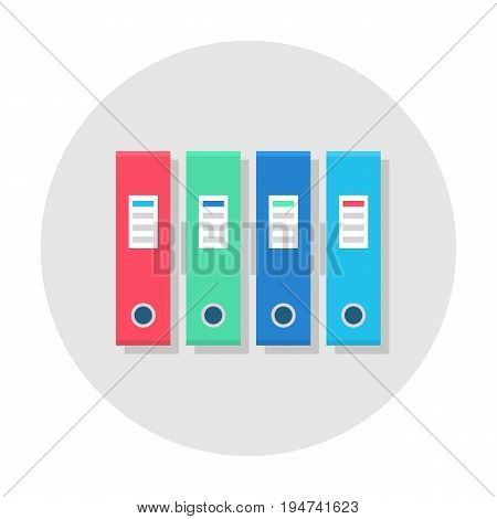 Office folder flat icon. Ring binder in a row, file folder in pink, green, purple and blue color, office supply set. Vector flat style cartoon illustration in rounded shape. Business concept
