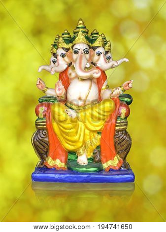 5 heads of Hindu God Ganesha Lord of Success isolate on white background with Clipping path