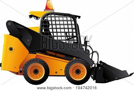 Yellow-black Mini bulldozer with protected windows and flashing lights