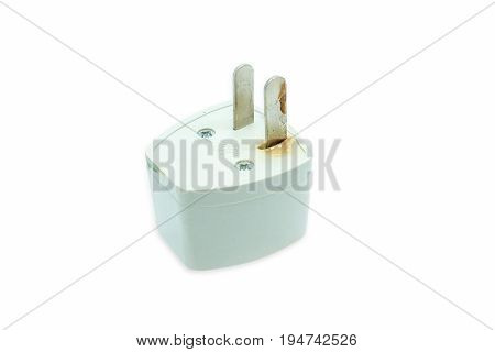 The Plug Is Damaged By A Short Circuit, Isolated On A White Background
