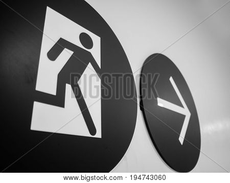 Black and white of close up Emergency exit sign