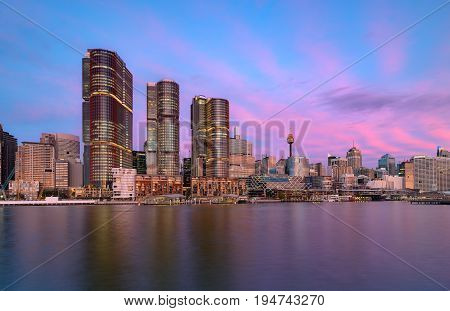 SYDNEY AUSTRALIA - July 11 2017 : Sydney Darling Harbour on sunset adjacent to the city center of Sydney and also a recreational place in Sydney central business district