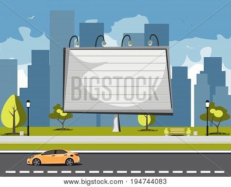 Large billboards with copy space text. Flat style vector illustration template.