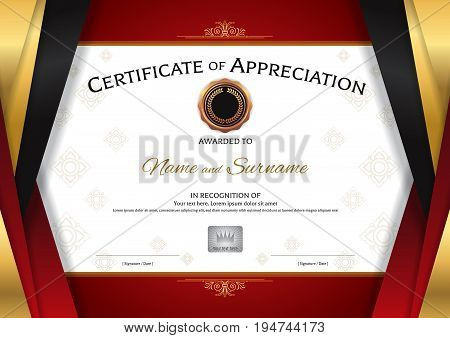 Luxury certificate template with elegant golden red border frame Diploma design for graduation or completion