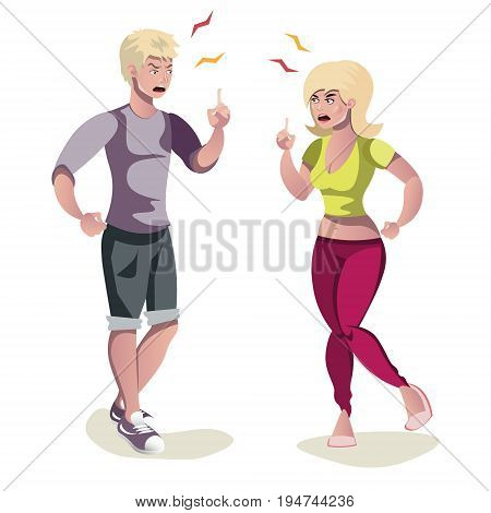 Couple man and woman quarrel. Vector flat cartoon illustration