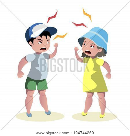 Small angry kids quarrel over white background cartoon vector illustration.