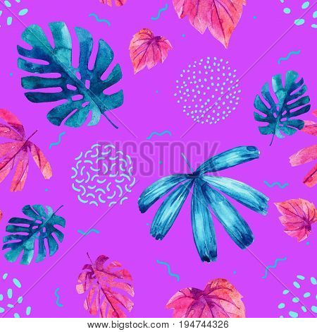 Watercolor decorative exotic leaves background. Water color tropical floral painting in 80s 90s style seamless pattern. Hand painted colorful natural illustration for modern design