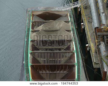 Aerial dry cargo ship high angle shot
