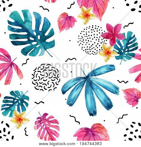 Watercolor decorative exotic leaves and flowers background. Water color tropical floral painting in 80s 90s style seamless pattern. Hand painted colorful natural illustration for modern design