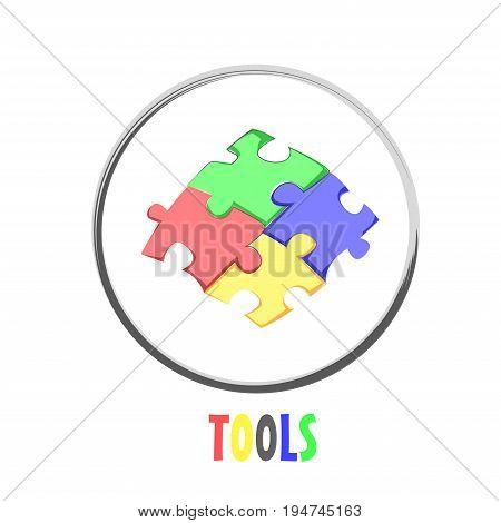 Icon button puzzle tools design symbol logo